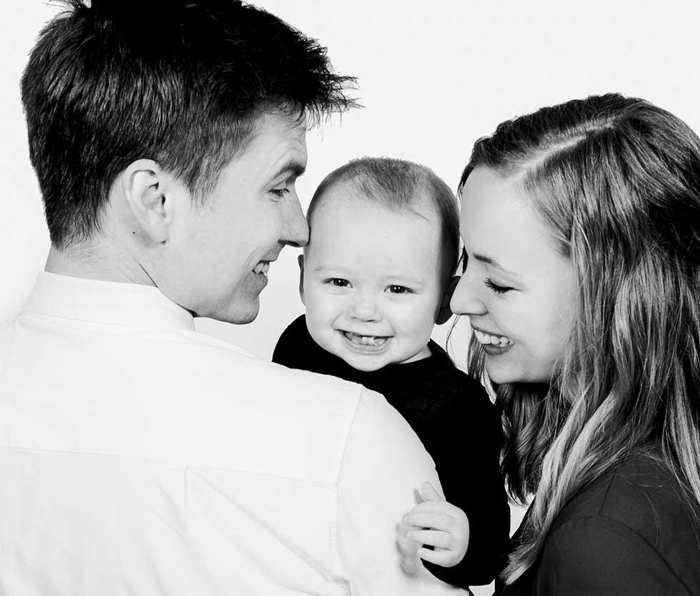 Portrætter af familien i Odense, børnene eller den lille ny